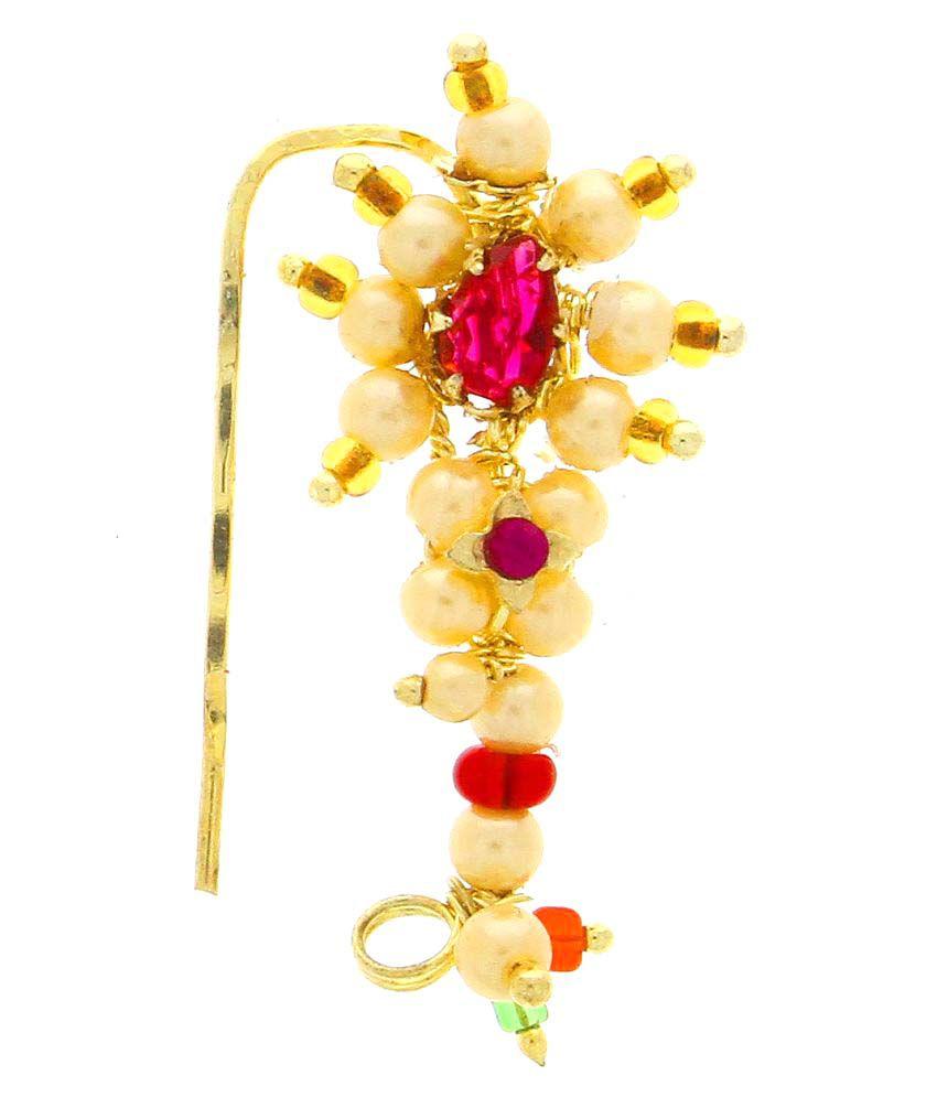 Anuradha Art Golden Colour  Traditional Maharashtrian Nath Nose Ring