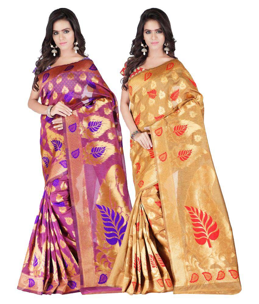 Ganga Shree Multicoloured Art Silk Saree Combos