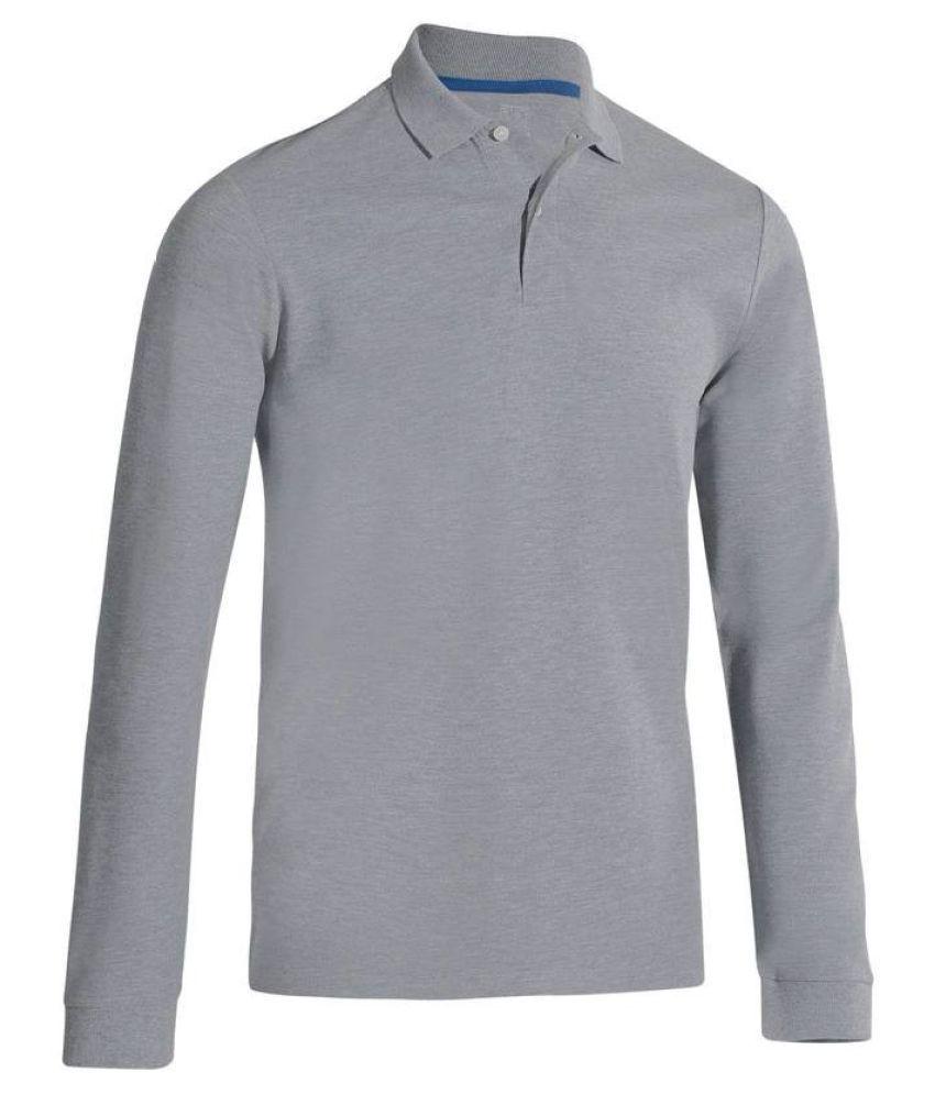 INESIS 500 Men's Long Sleeve Grey Polo T-Shirt