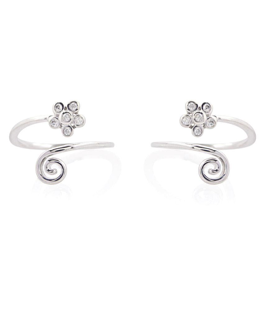 Silver Dew Flower Toe Ring In Pair Of Two In 925 Sterling Silver For Ladies