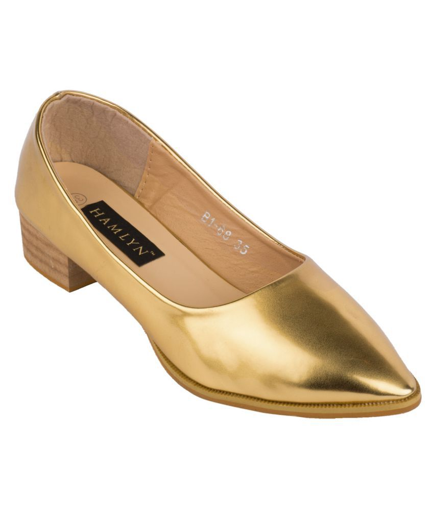 Hamlyn Shoes Gold Block Heels