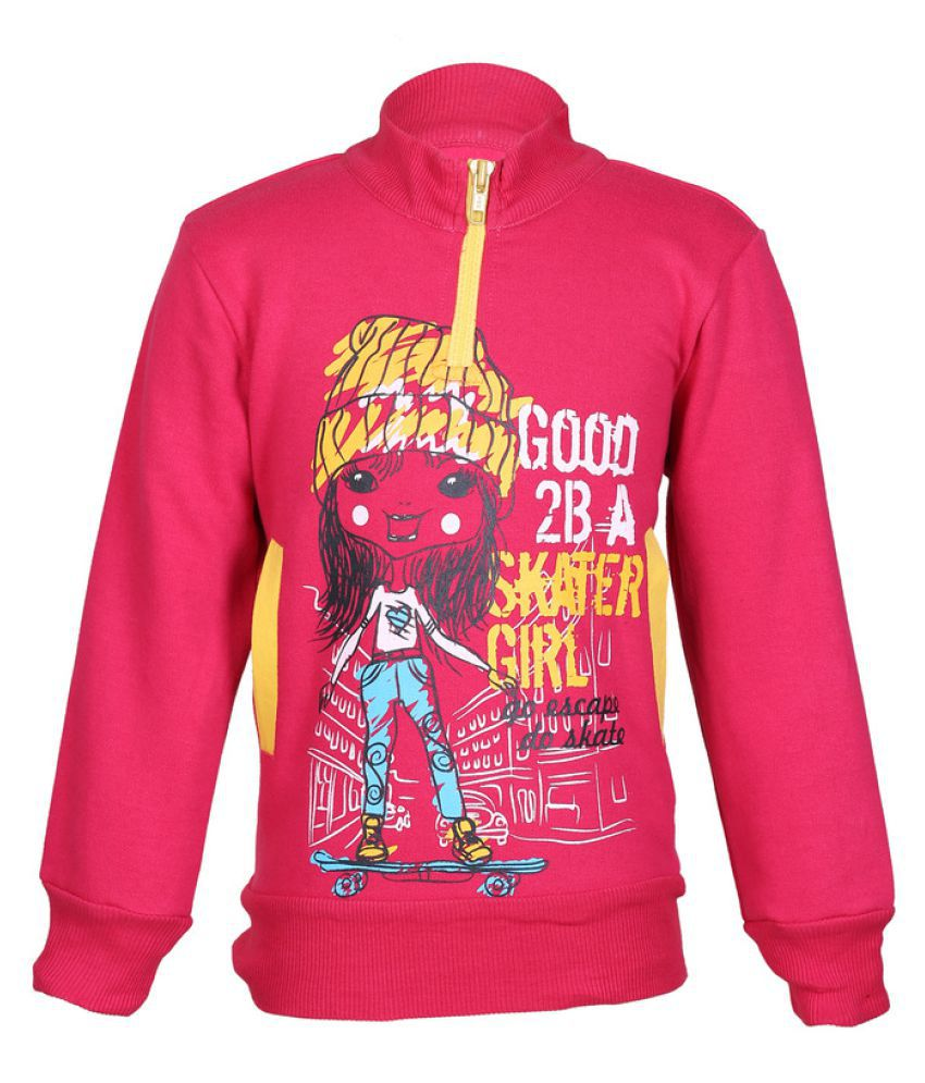 Cool Quotient Pink Skater Girl Zipper Sweatshirt