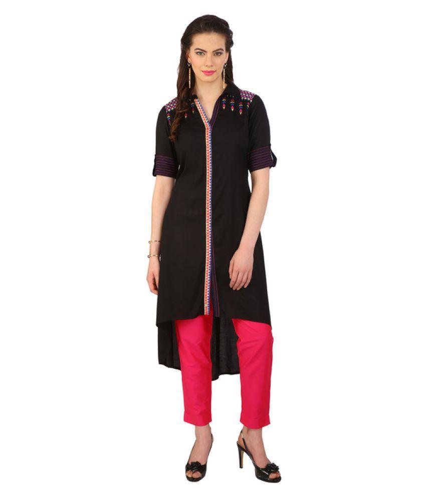2b217c0a1fb29 Srishti By FBB Black Rayon High Low Hemline Kurti - Buy Srishti By FBB  Black Rayon High Low Hemline Kurti Online at Best Prices in India on  Snapdeal