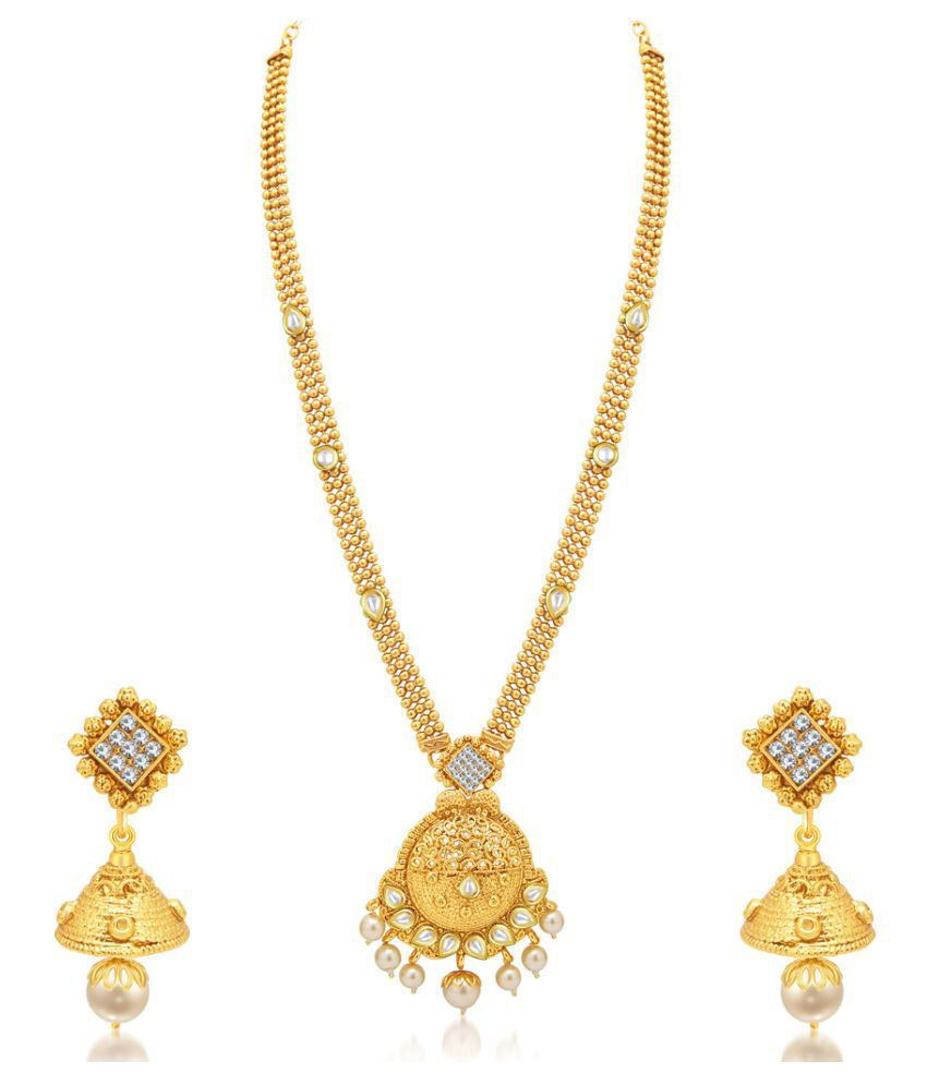 Sukkhi Fabulous Gold Plated Kundan Necklace Set For Women