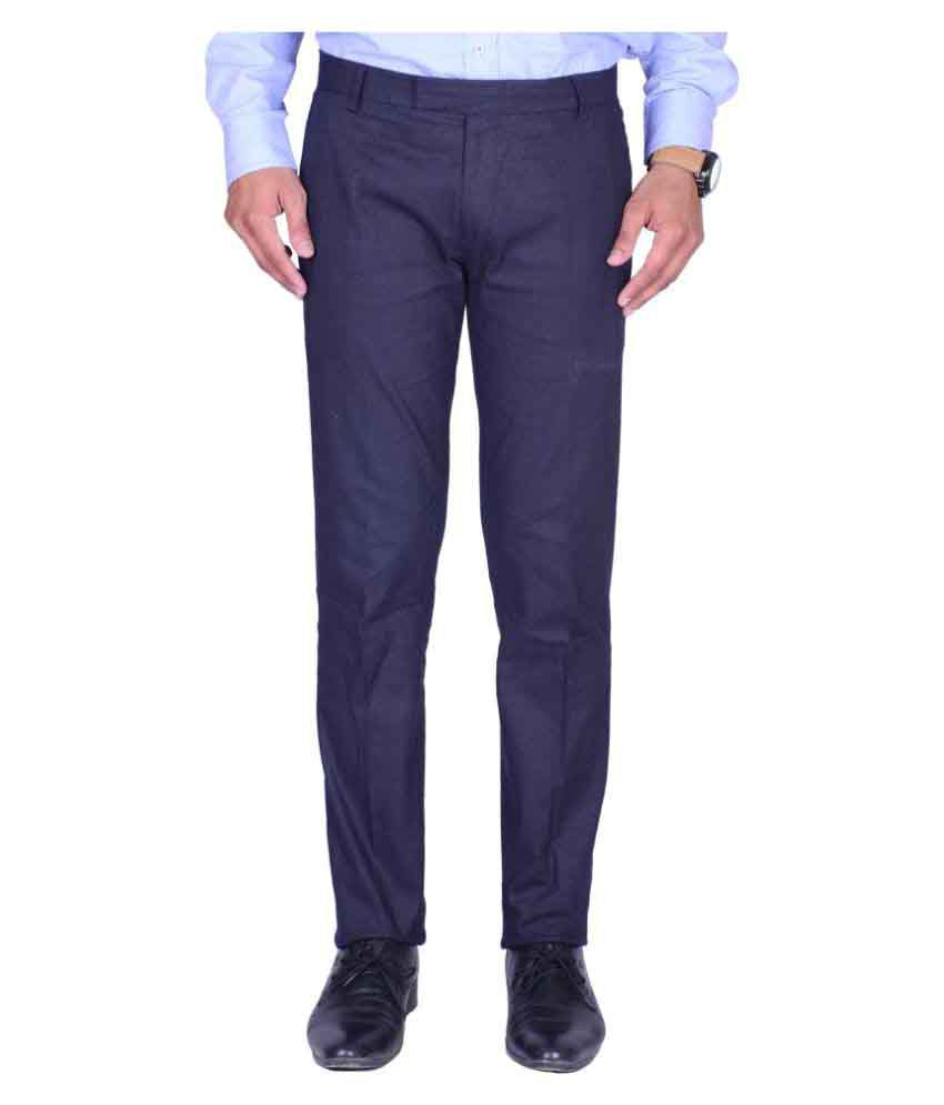 Svansh Blue Regular Flat Trouser