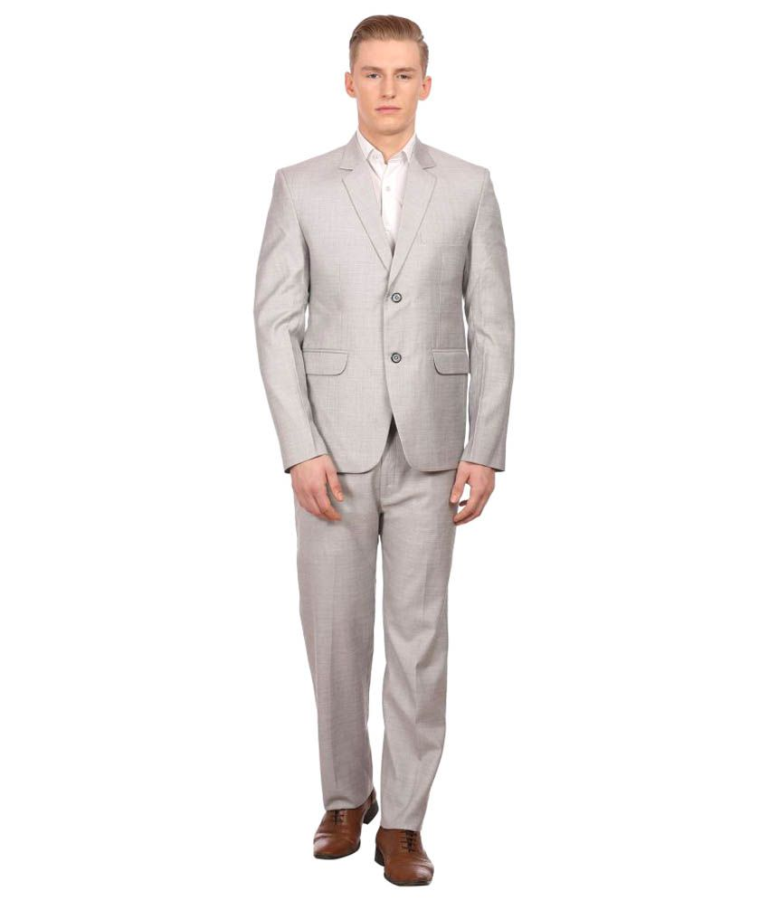 Wintage Silver Solid Party 2 Piece Suits No