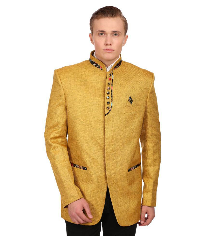Wintage Yellow Solid festive Blazers