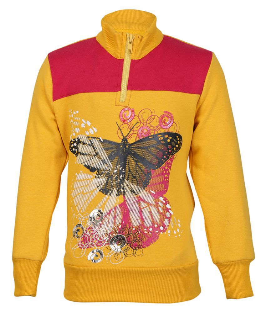 Cool Quotient Yellow Butterfly Print Sweatshirt