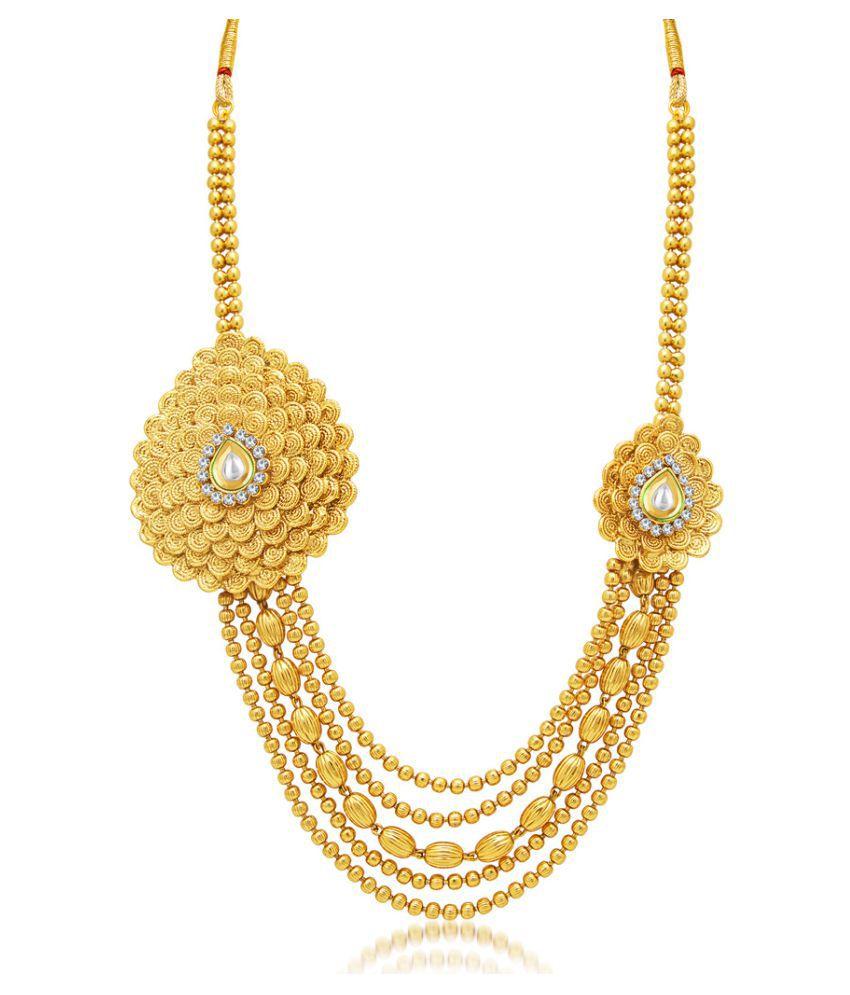 Sukkhi Exquitely Jalebi 5 String Gold Plated AD Necklace Set for ...