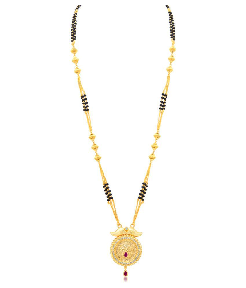 Sukkhi Golden Alloy Trendy Gold Plated AD Mangalsutra