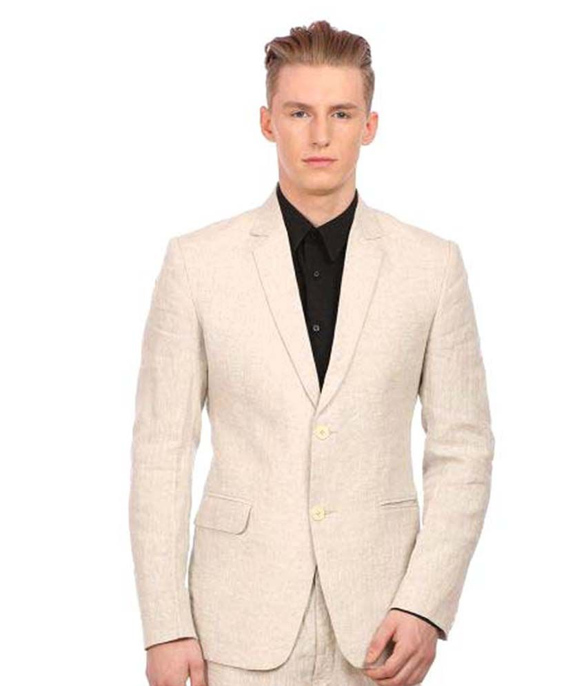 Wintage Beige Solid Party 2 Piece Suits