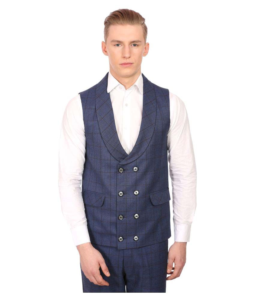 Wintage Blue Checks Party Waistcoats