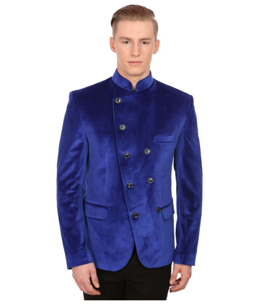 Wintage Blue Solid Party Blazers