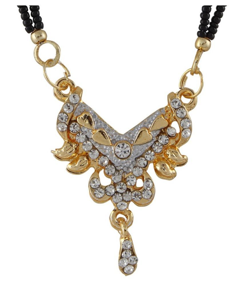 Biyu Decent Cubic Zirconia 2 Line Black Beads Gold Plated Zinc Alloy Mangalsutra
