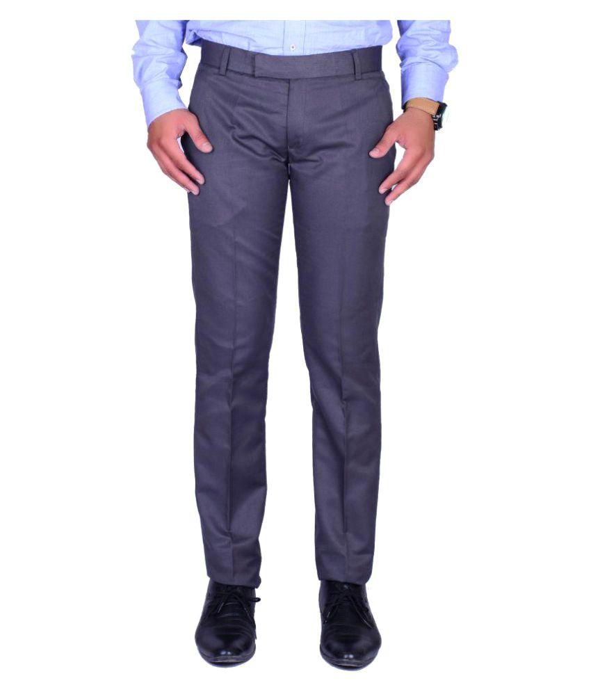 SVANSH Grey Regular Flat Trouser