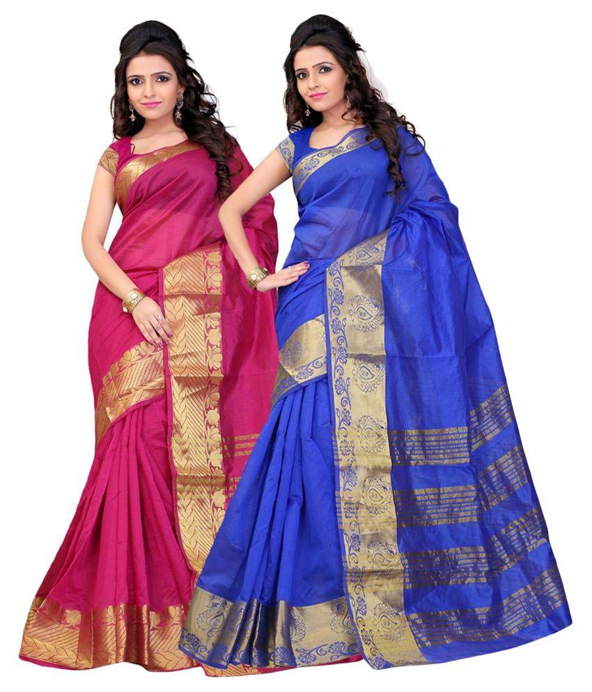 Aksh Fashion Multicoloured Art Silk Saree Combos