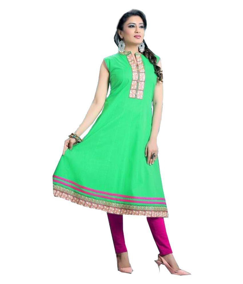 Jayanti's Green Cotton Straight Kurti