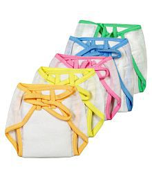 Brim Hugs & Cuddles Multicolour Cotton Nappy for Baby - Pack of 5