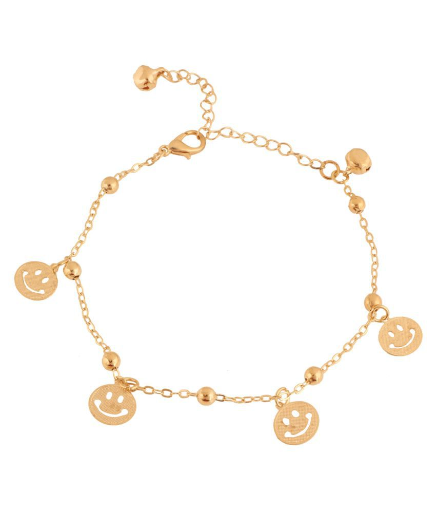 Jazz Jewellery Golden Alloy Anklets