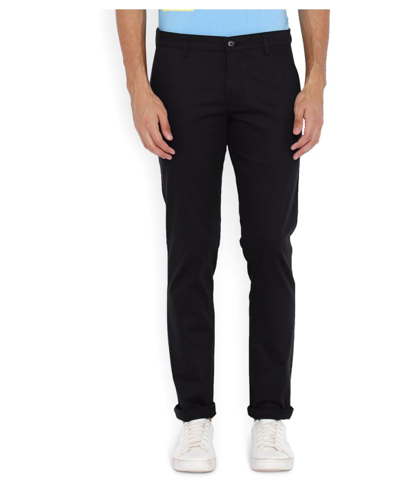 Parx Black Regular Flat Trouser