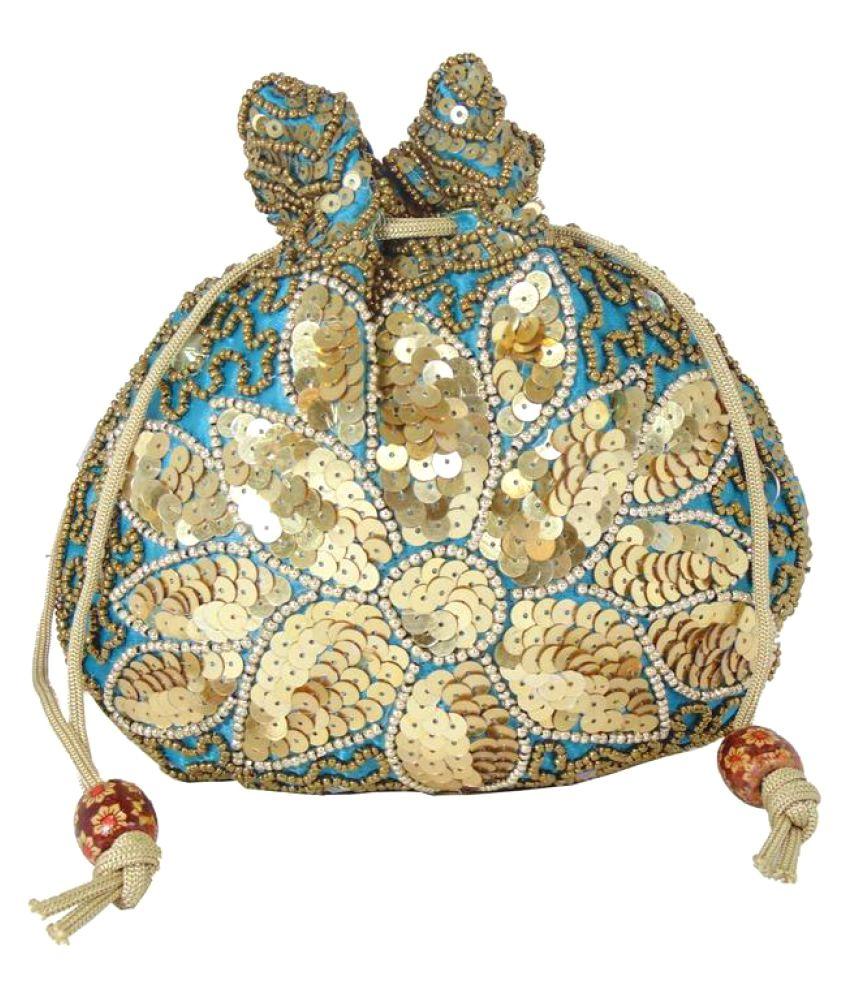 Shree Ganpati Plaza Blue Fabric Potli