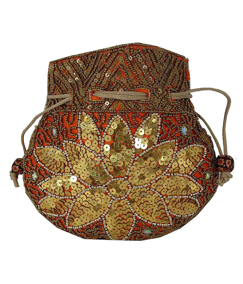 Shree Ganpati Plaza Orange Fabric Potli