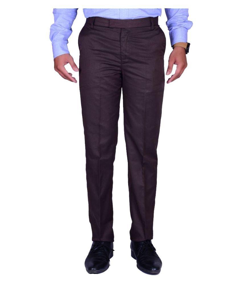 Svansh Brown Regular Flat Trouser