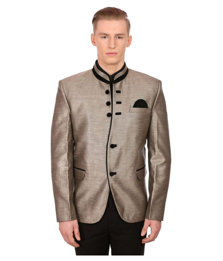 Wintage Gold Solid Party Blazers No