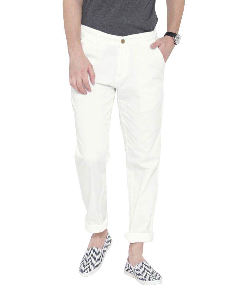 Hubberholme White Slim Flat Trouser