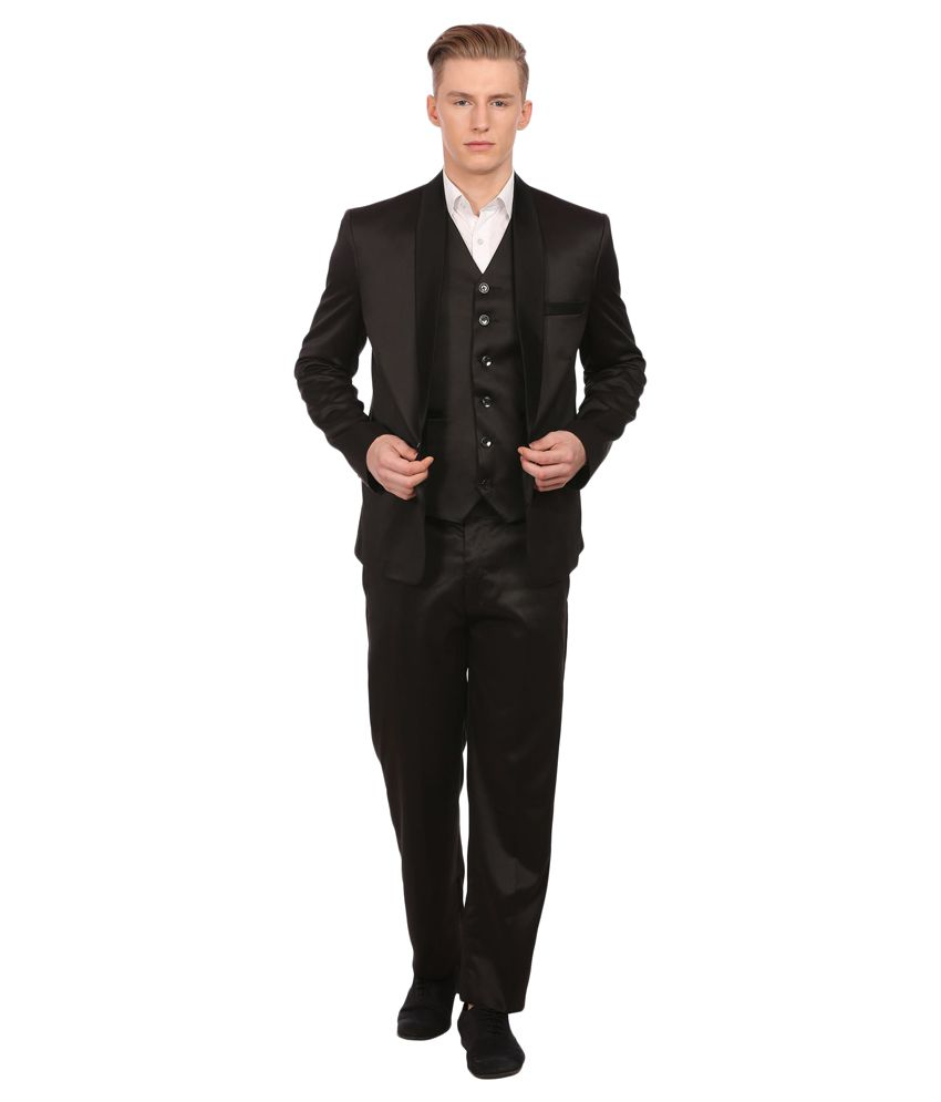 Wintage Black Solid Party 3 Piece Suits