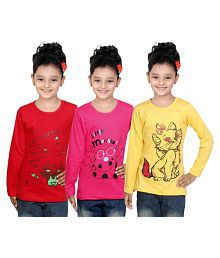 IndiWeaves Girls Cotton Full Sleeve Printed T-Shirt (Pack of 3)_Red::Yellow::Red_Size: 11-12 Year