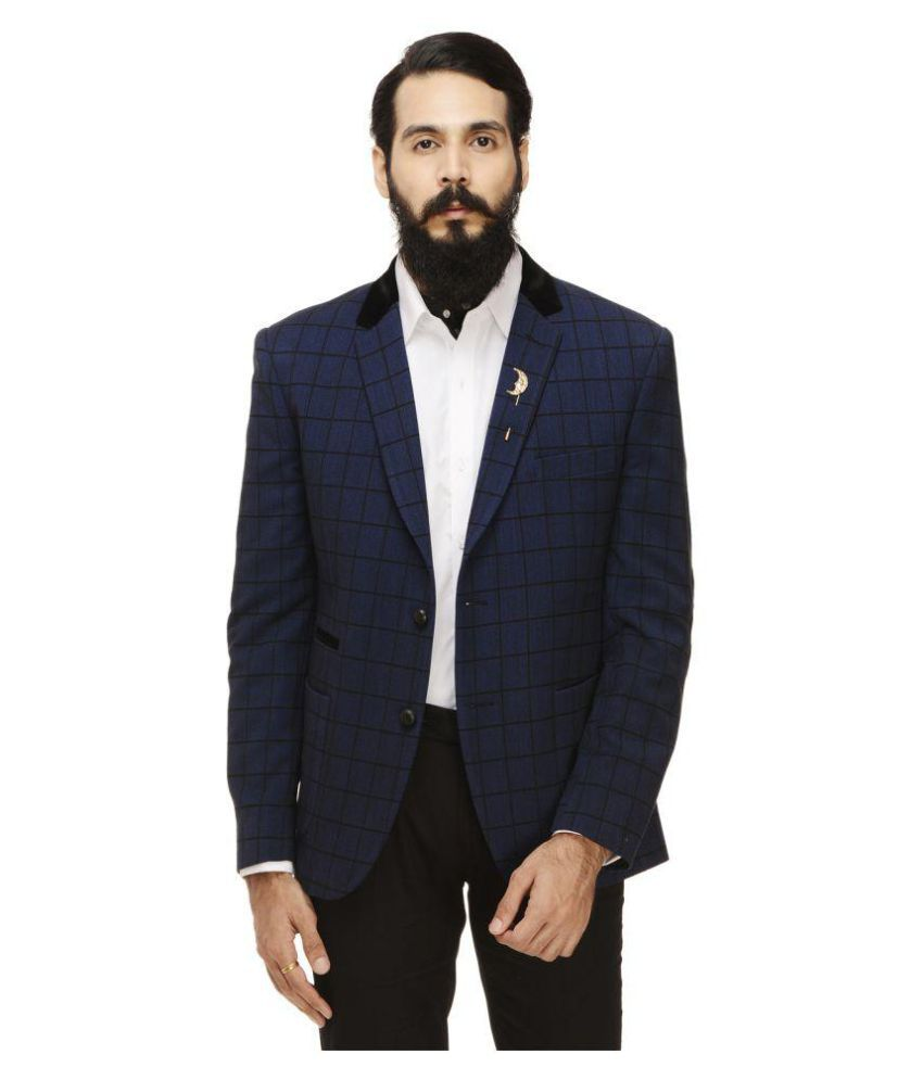 Monteil & Munero Blue Checks Casual Blazers