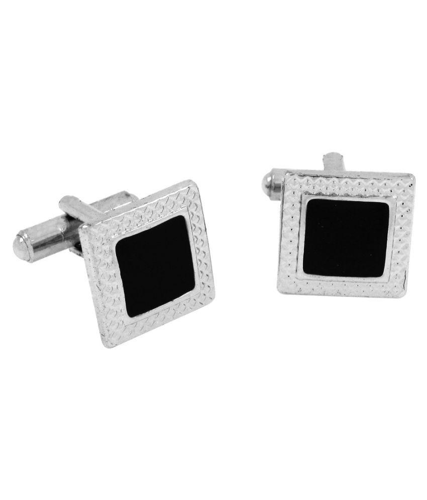 The Jewelbox Square Black Enamel Rhodium Plated Brass Cufflink Pair
