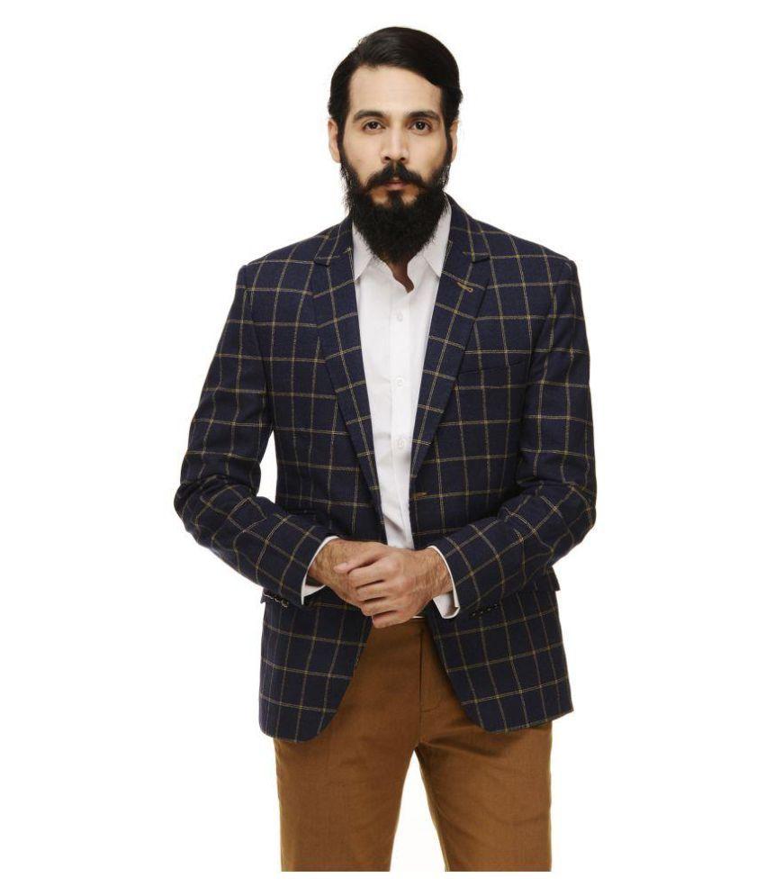 Monteil & Munero Blue Checks Casual Blazers