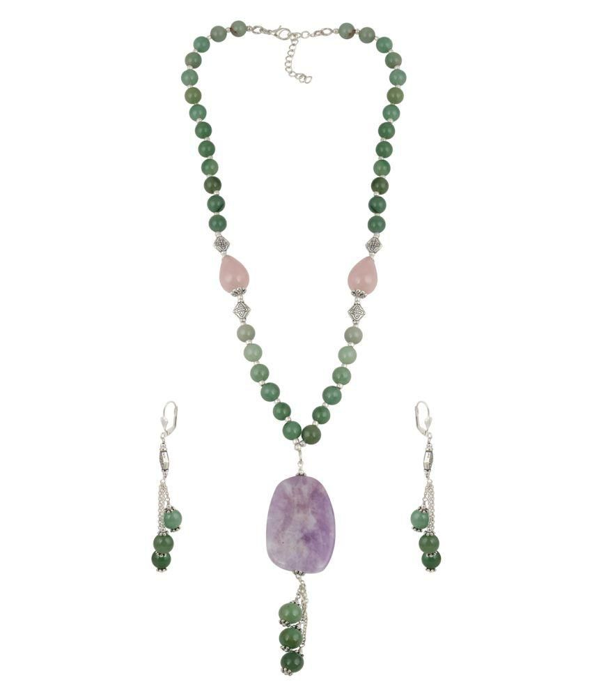 Pearlz Ocean Perfect Amethyst Lavender, Rose Quartz and Aventurine Green Beaded Necklace and Earrings Trendy Jewelry Set for Women
