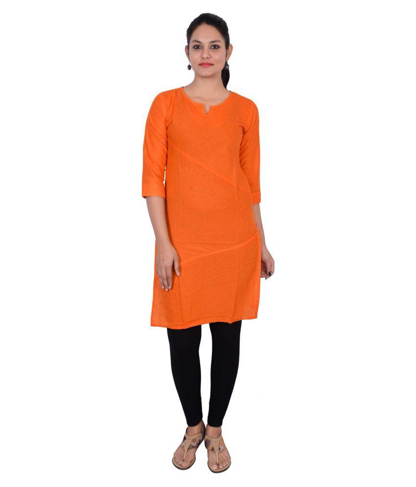Decot Paradise Orange Cotton Straight Kurti