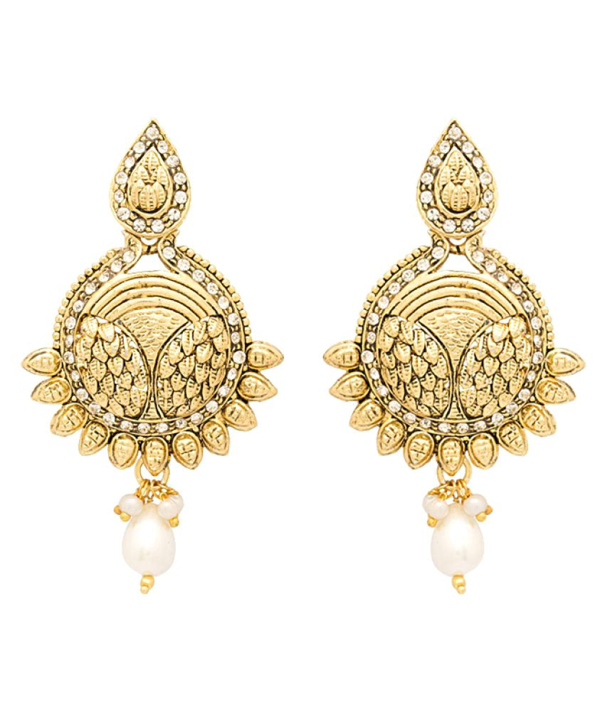 Voylla Elegant Gold Plated Earrings with White Gems and Pearls