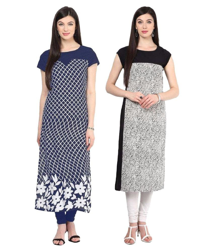 Khushi Fashions Multicoloured Crepe Straight Kurti