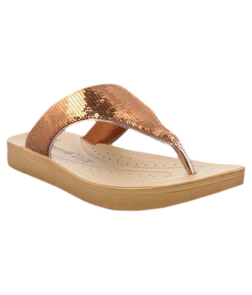 Aerowalk Gold Slippers