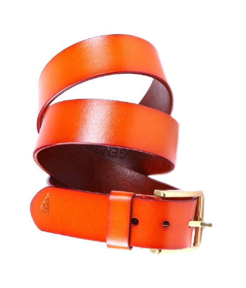 Black Buck Orange Leather Formal Belts