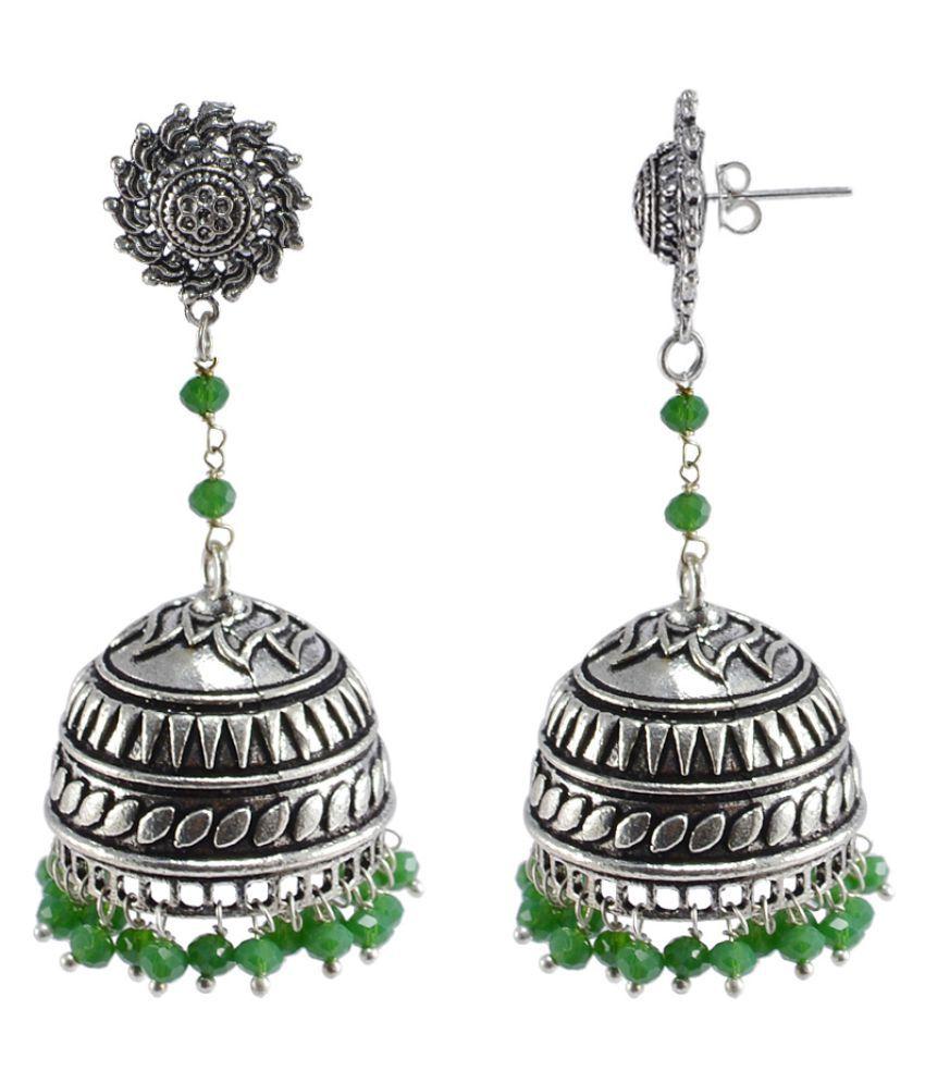 Silvesto India Ethnic Silver Plated Jhumki Earring
