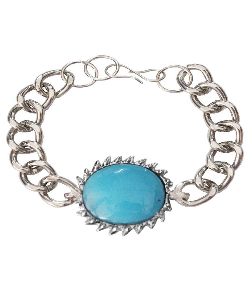 Mens Jewell Silver Bracelet