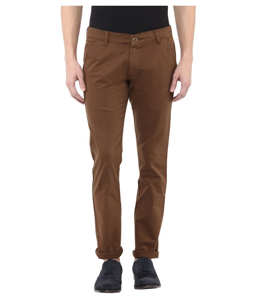 Bukkl Dark Brown Slim Flat Chinos