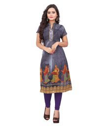 Fashion Gallery Grey Georgette Printed Semi Stitched Kurti