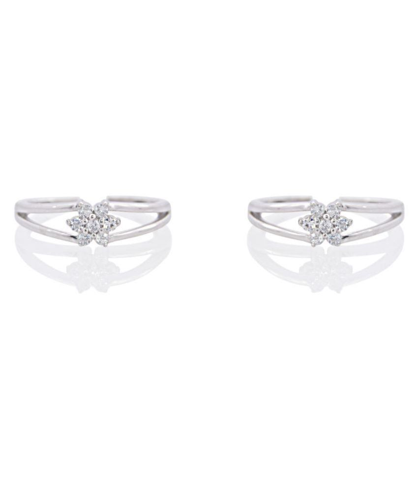 Silver Dew Silver Plated Pair of Toe Rings - Pack of 2