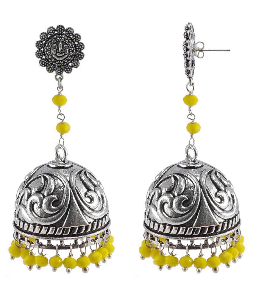 Silvesto India 925 Silver Plated yellow Quartz Khoobsurat Jhumki Earrings For Women PG-26433