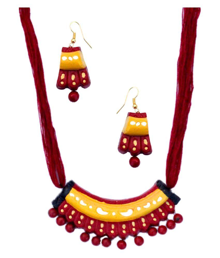 Zenx Vibrant Terracotta Necklace Set For Woman