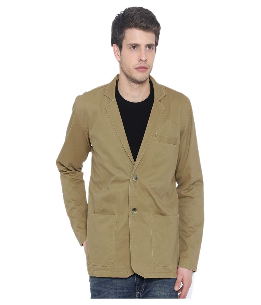 Fifty Two Khaki Solid Casual Blazers