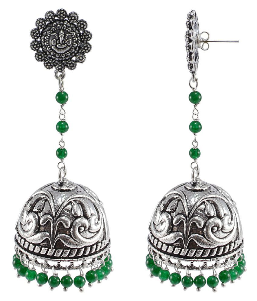 Silvesto India Silver 925 Silver Plated Traditional Jhumki Earrings