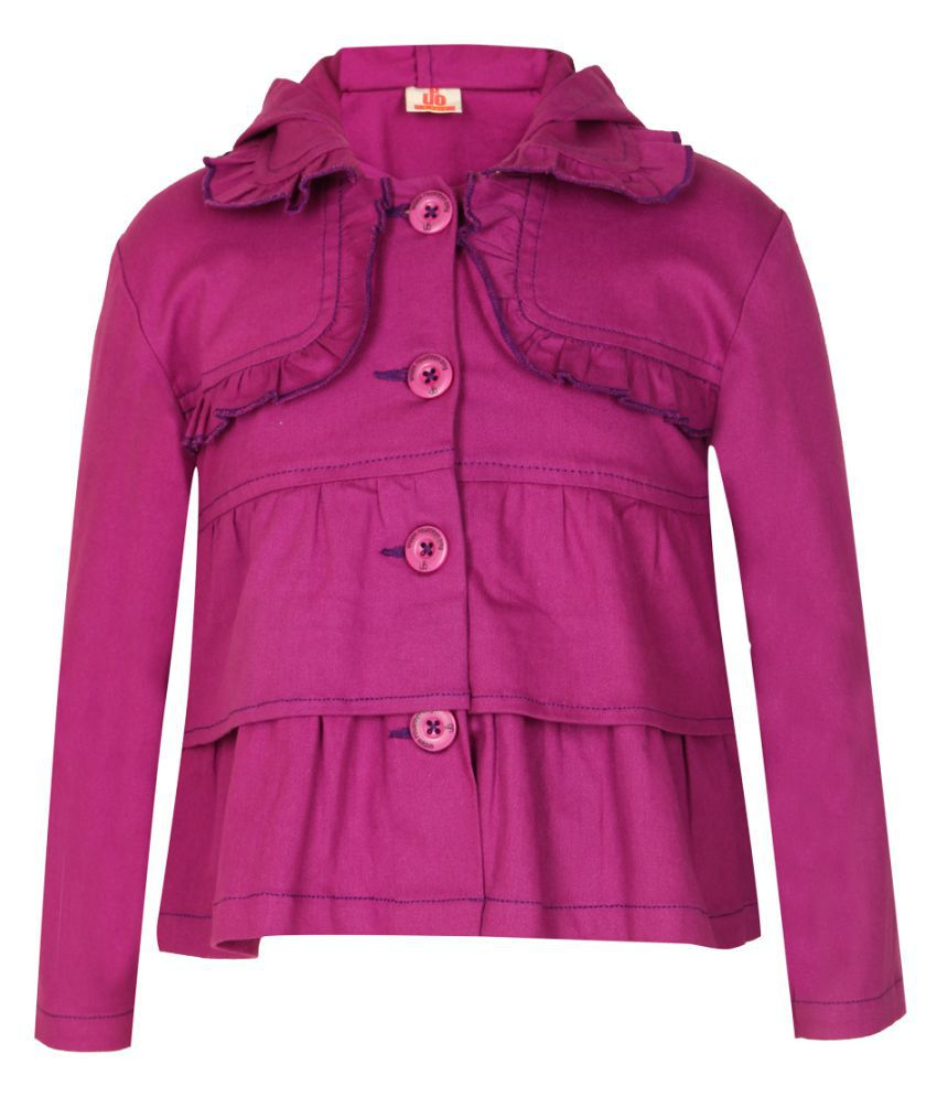 UFO Purple Cotton Buttoned Quilted & Bomber Jacket